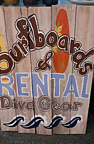 SURF BOARD & DIVE GEAR RENTAL  Reclaimed Wood Sign from Mendocino Made Marvels