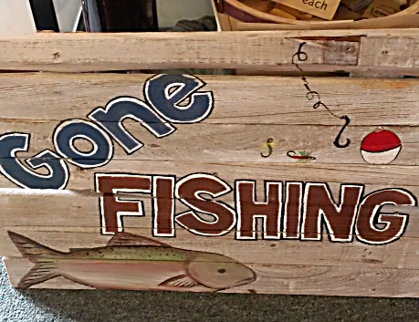 GONE FISHIN'  Reclaimed Wood Sign from Mendocino Made Marvels